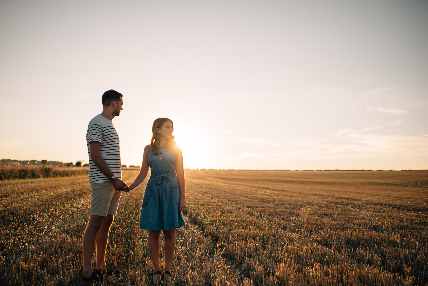 golden hour engagement shoot by alternative london wedding photographer the shannons photography