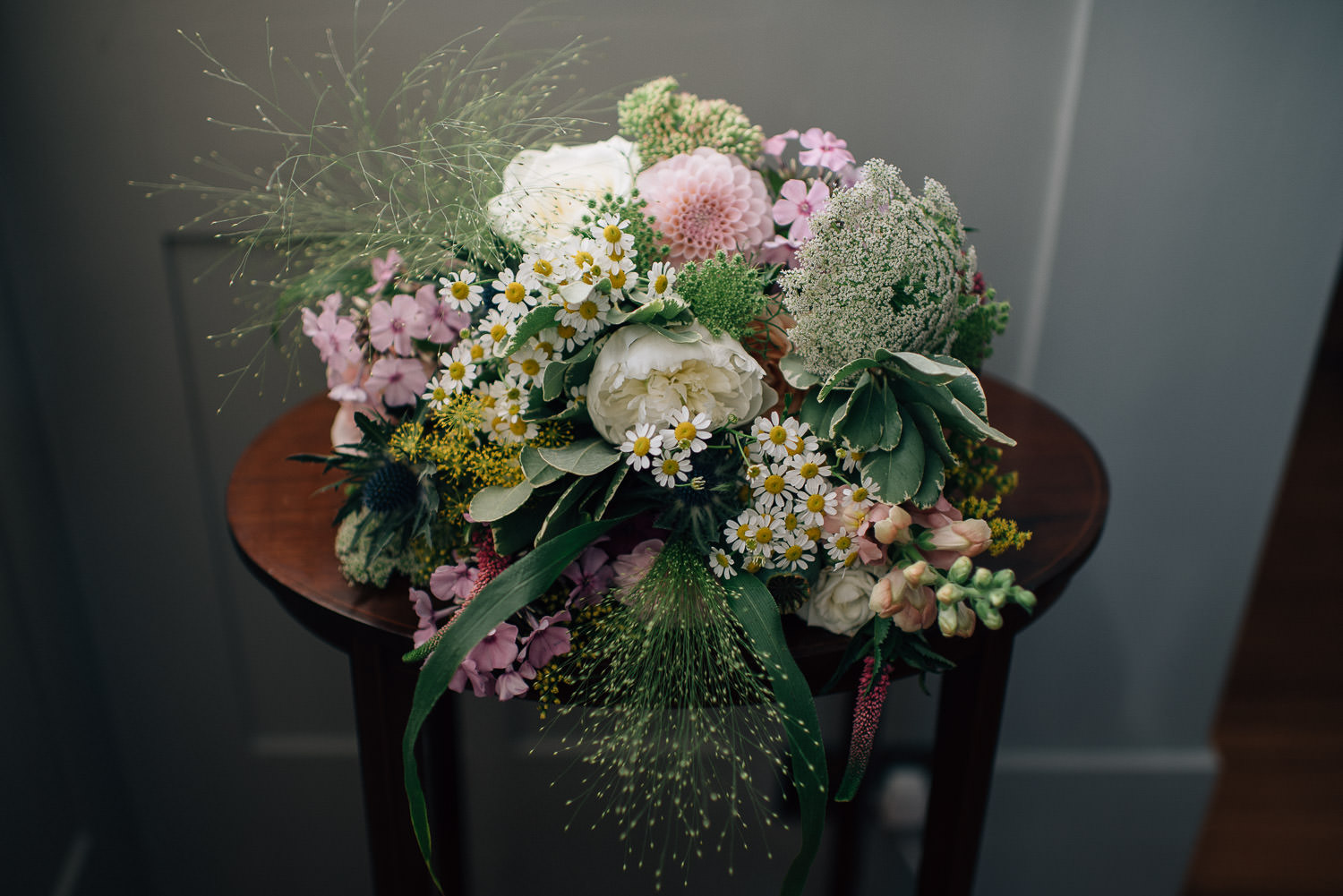 Bridal flowers in surrey festival wedding by creative and alternative wedding photographer the shannons photography