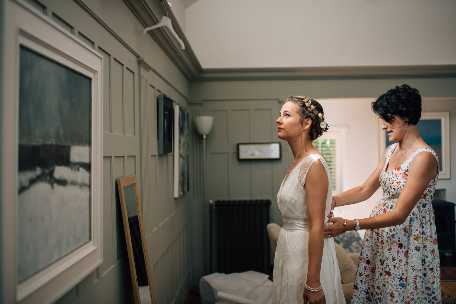 Charlie Brear dress  in surrey festival wedding by creative and alternative wedding photographer the shannons photography