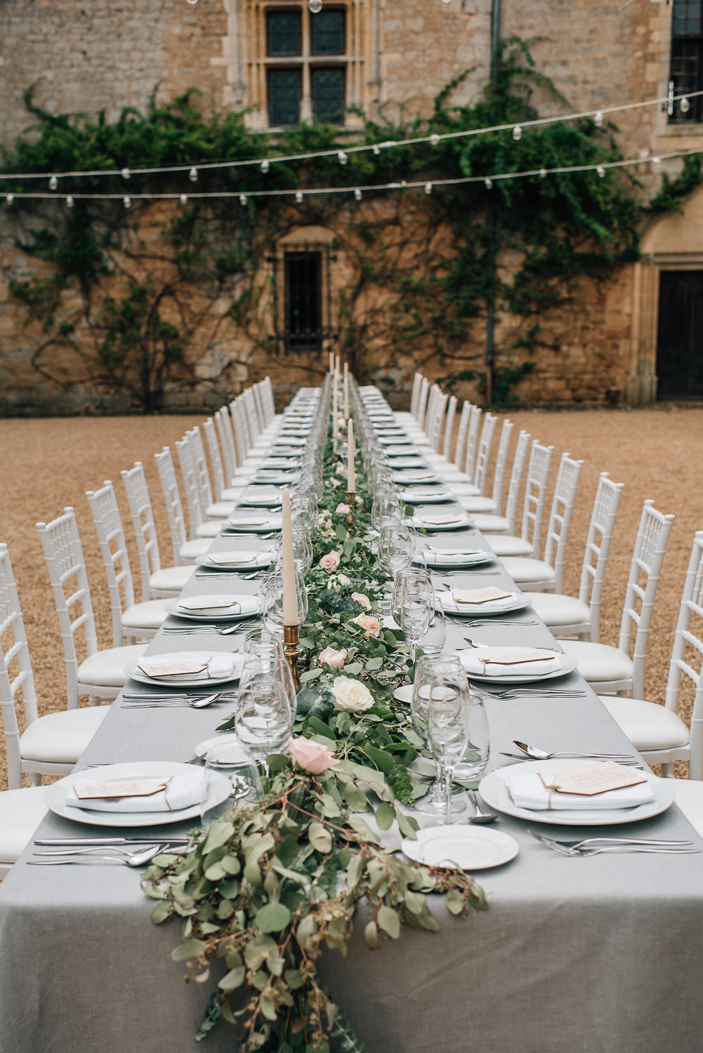 Table setting in chateau de la bourlie wedding by destination wedding photographer the shannons photography