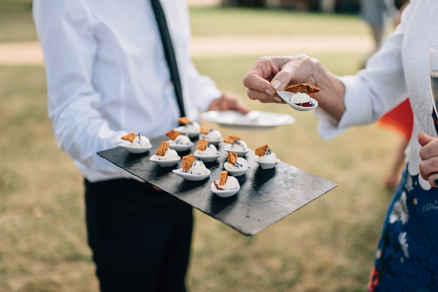 Food served at chateau de la bourlie wedding by destination wedding photographer the shannons photography