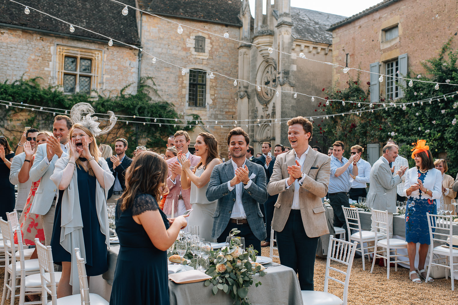 Wedding breakfast in chateau de la bourlie wedding by french destination wedding photographer the shannons photography