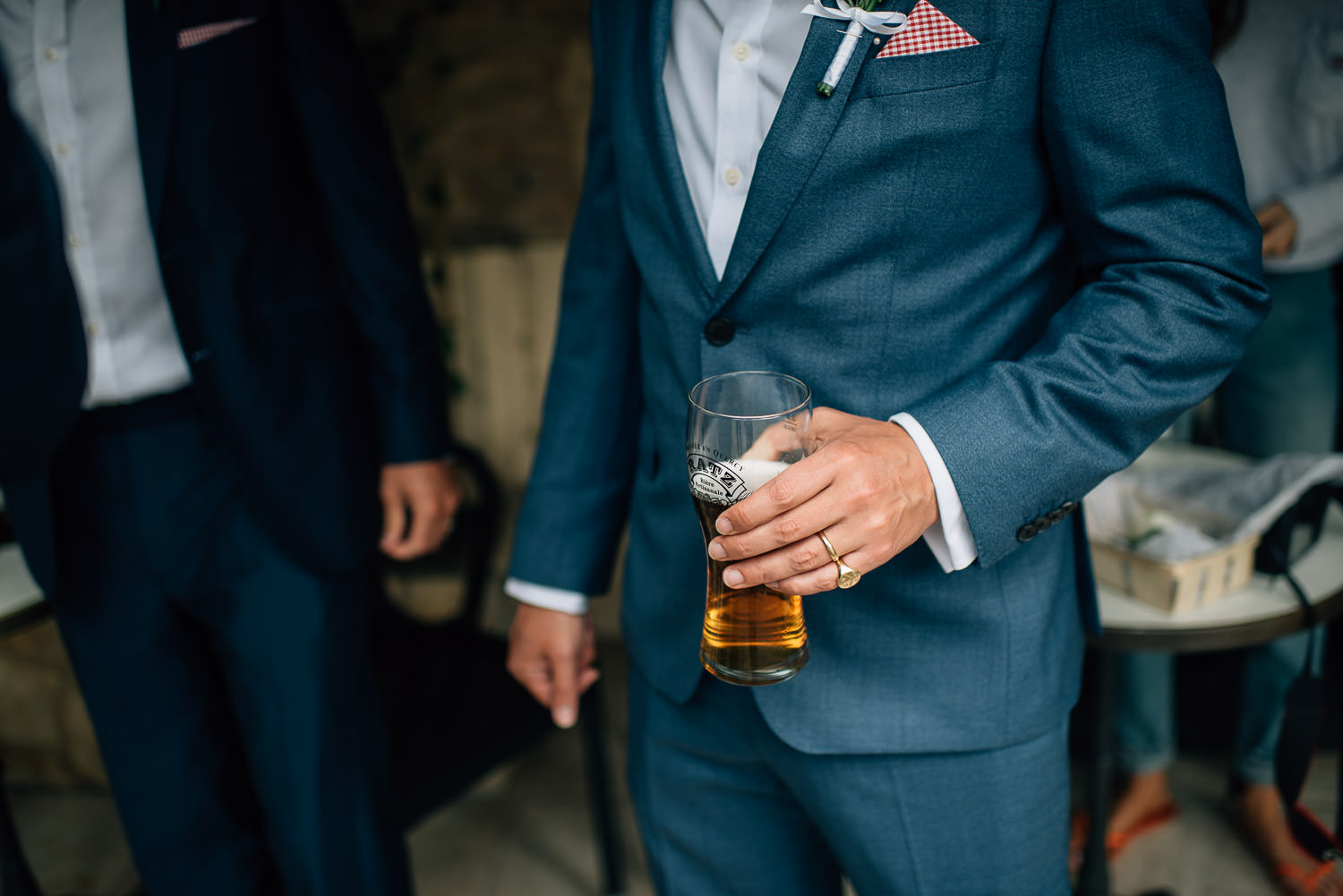 Grooms hugo boss suit in Chateau de la Bourlie Wedding by creative and alternative destination wedding photographer the shannons photography