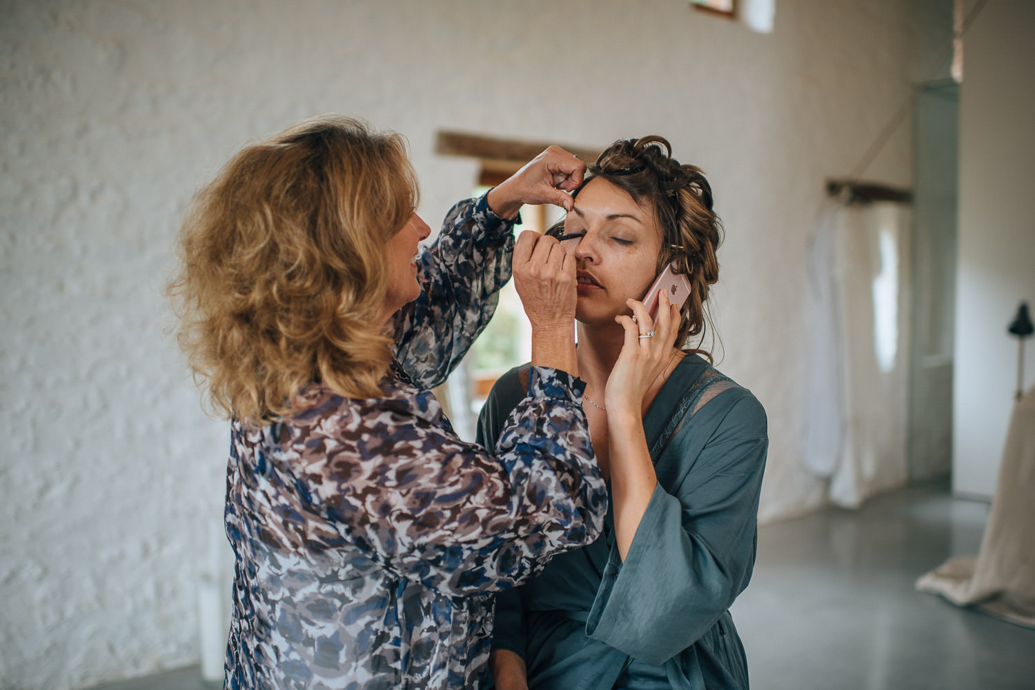 Bridal makeup at Chateau de la Bourlie Wedding by creative and alternative destination wedding photographer the shannons photography