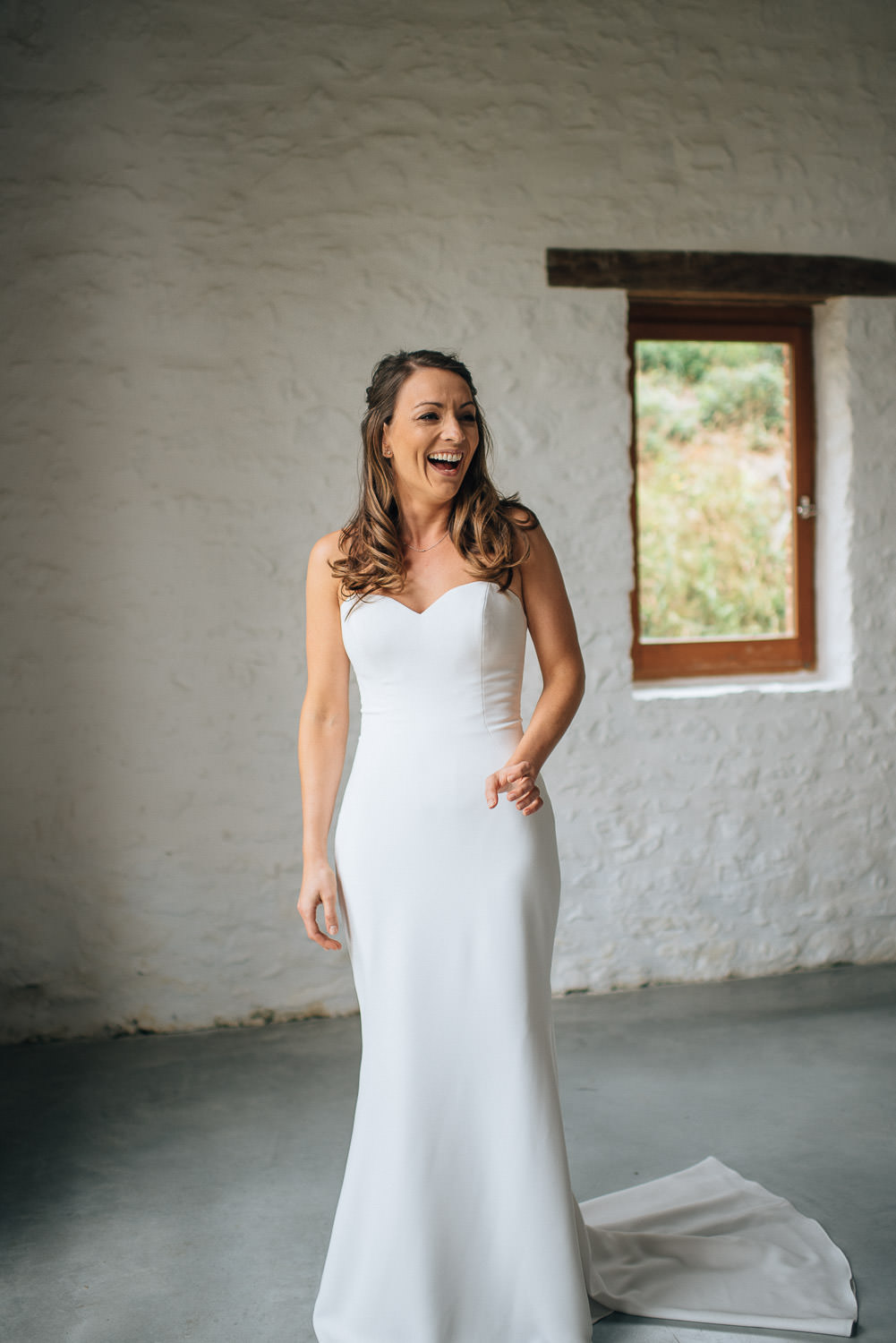 Front of Rime Arodaky wedding dress in chateau de la bourlie wedding by destination wedding photographer the shannons photography