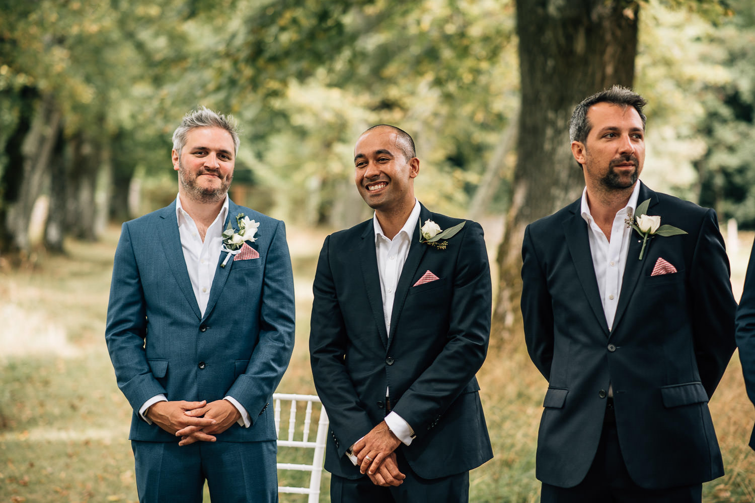 Groom and best man in chateau de la bourlie wedding by uk destination wedding photographer the shannons photography