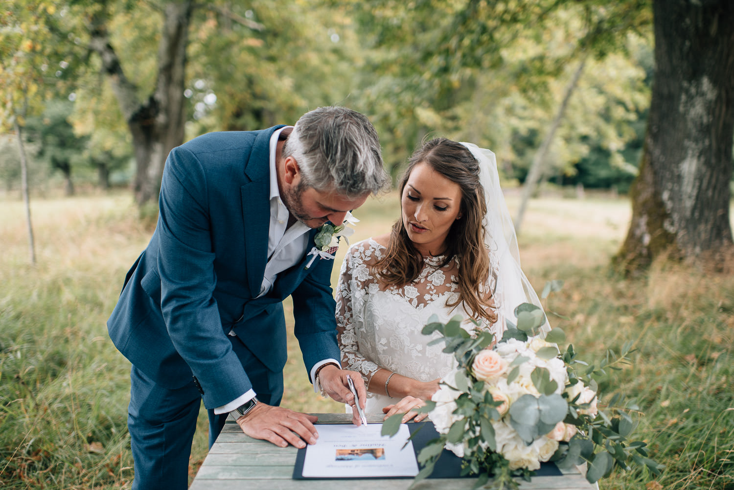 Signing of the register in chateau de la bourlie wedding by destination wedding photographer the shannons photography