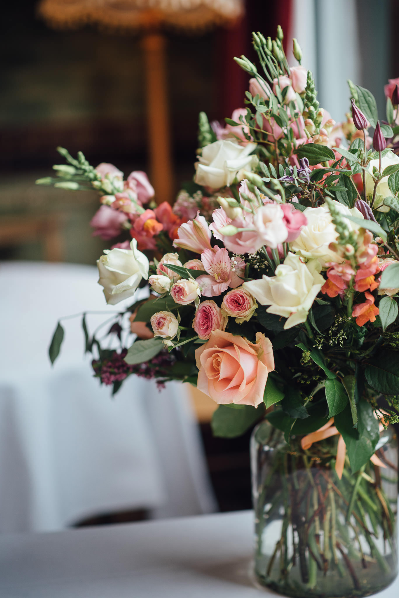 Wedding flowers in stoke newington town hall wedding by creative and alternative london wedding photographer the shannons photography