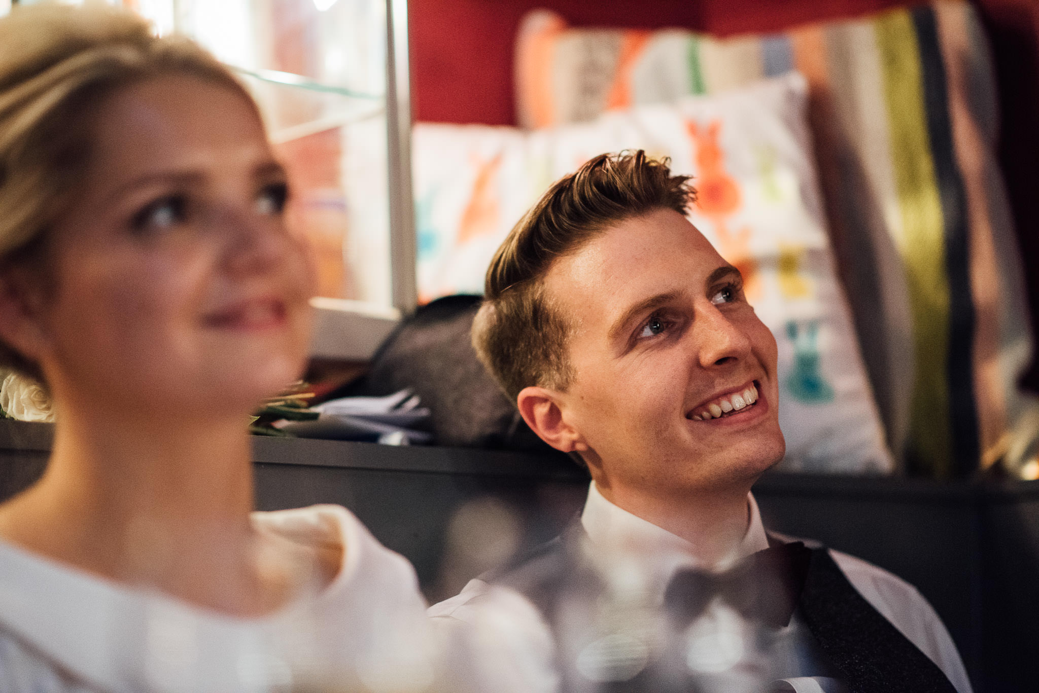 Bride and groom speeches in the londesborough pub in stoke newington town hall wedding by creative and alternative london wedding photographer the shannons photography