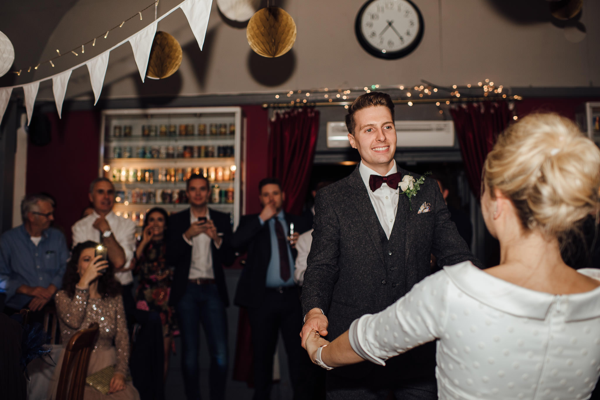 First dance in the londesborough pub in stoke newington town hall wedding by creative and alternative london wedding photographer the shannons photography