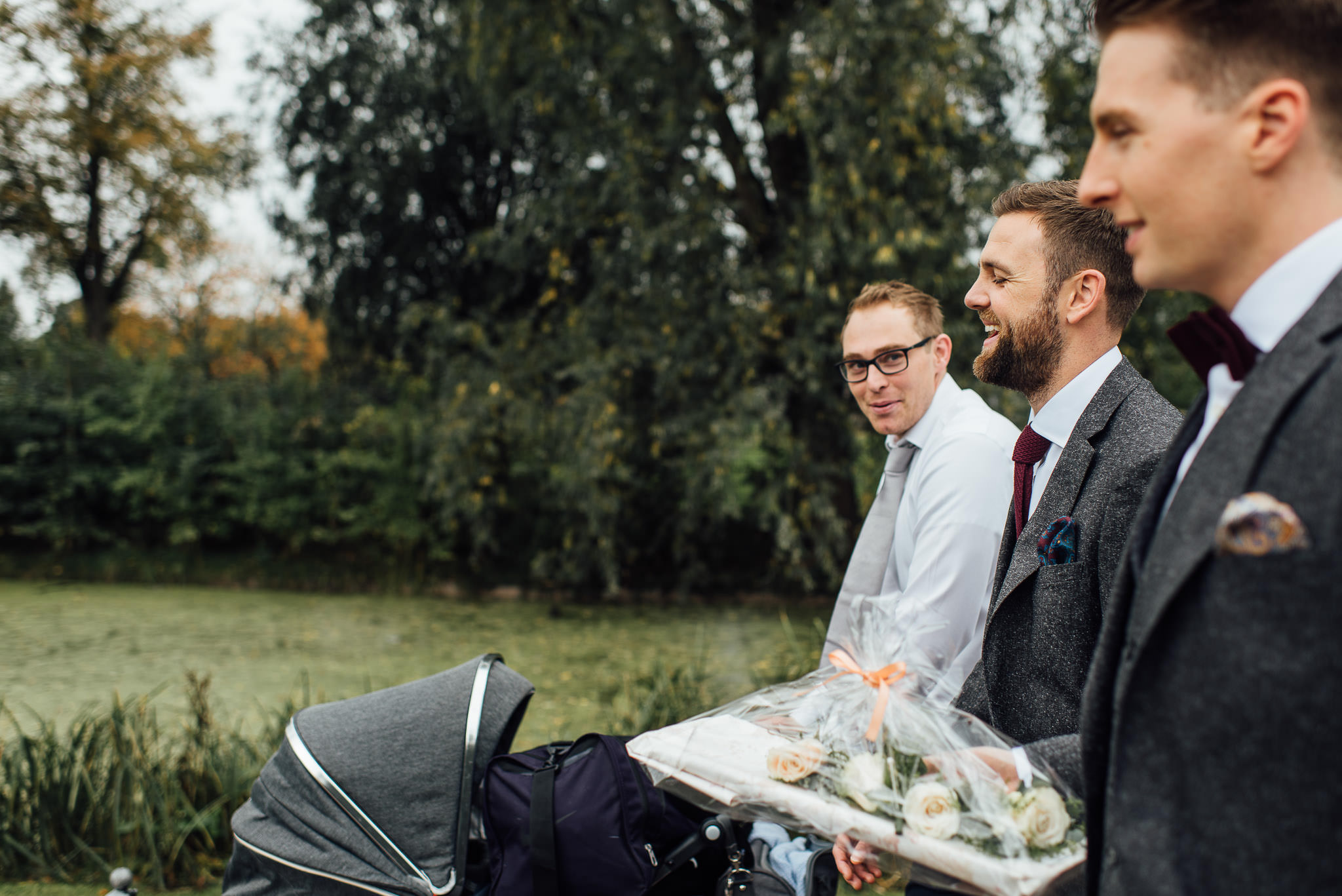Groom in clissold park in stoke newington town hall wedding by creative and alternative london wedding photographer the shannons photography
