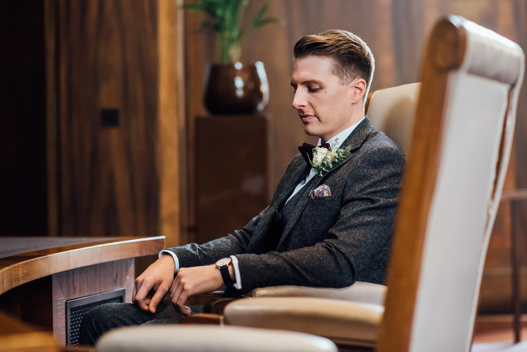 Groom in Stoke newington town hall in stoke newington town hall wedding by creative and alternative london wedding photographer the shannons photography