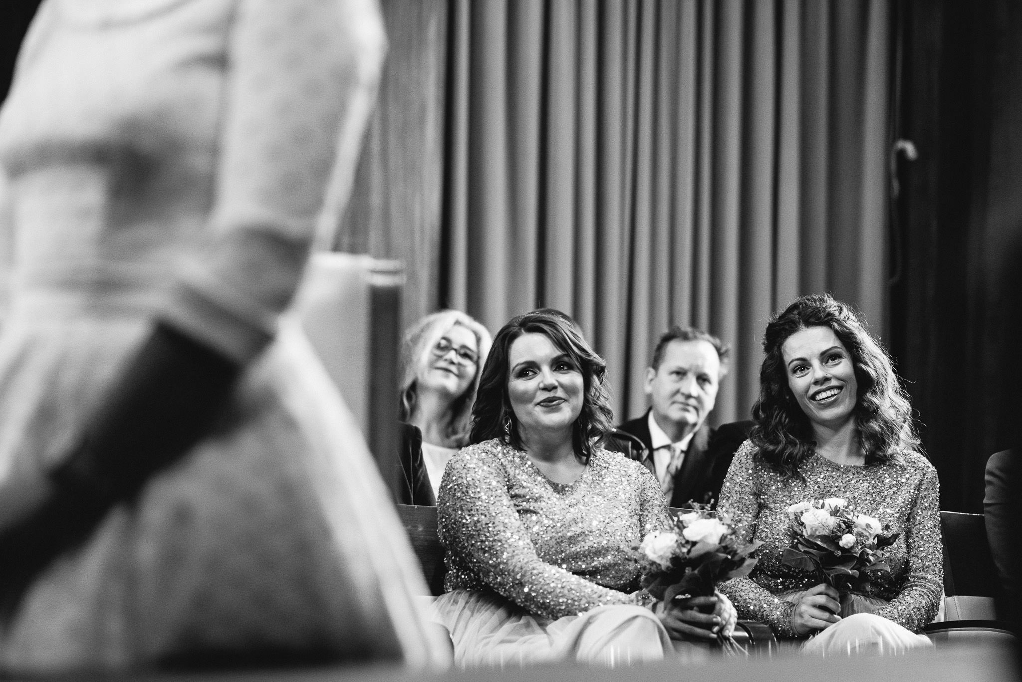 Bridesmaids in stoke newington town hall wedding by creative and alternative london wedding photographer the shannons photography