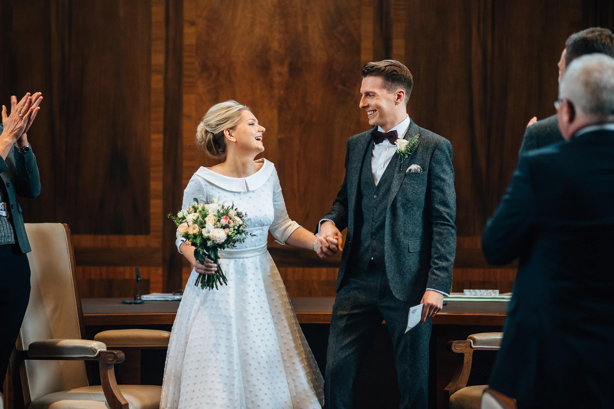 Cool london couple in stoke newington town hall wedding by creative and alternative london wedding photographer the shannons photography