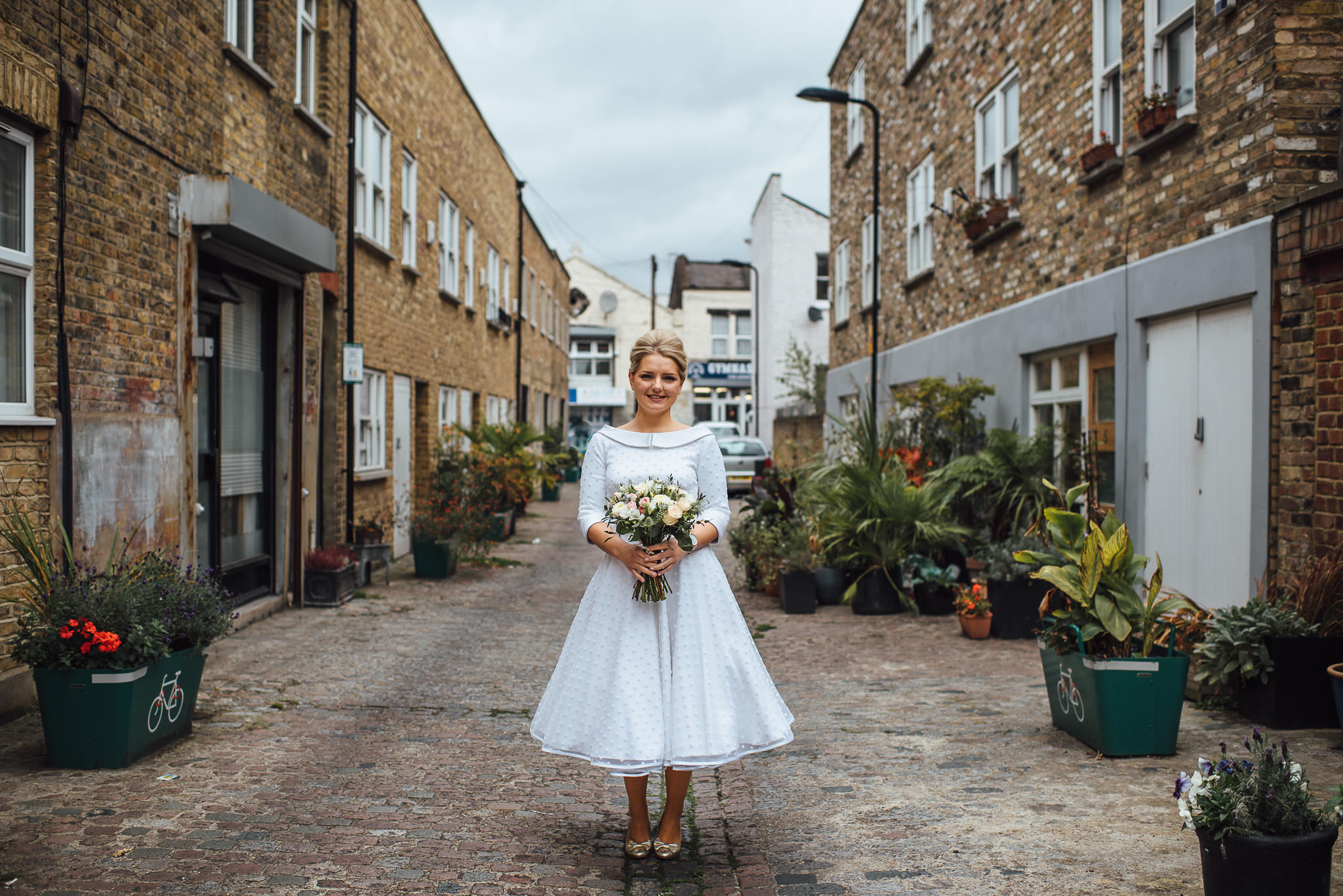 vintage candy anthony dress in stoke newington town hall wedding by creative and alternative london wedding photographer the shannons photography