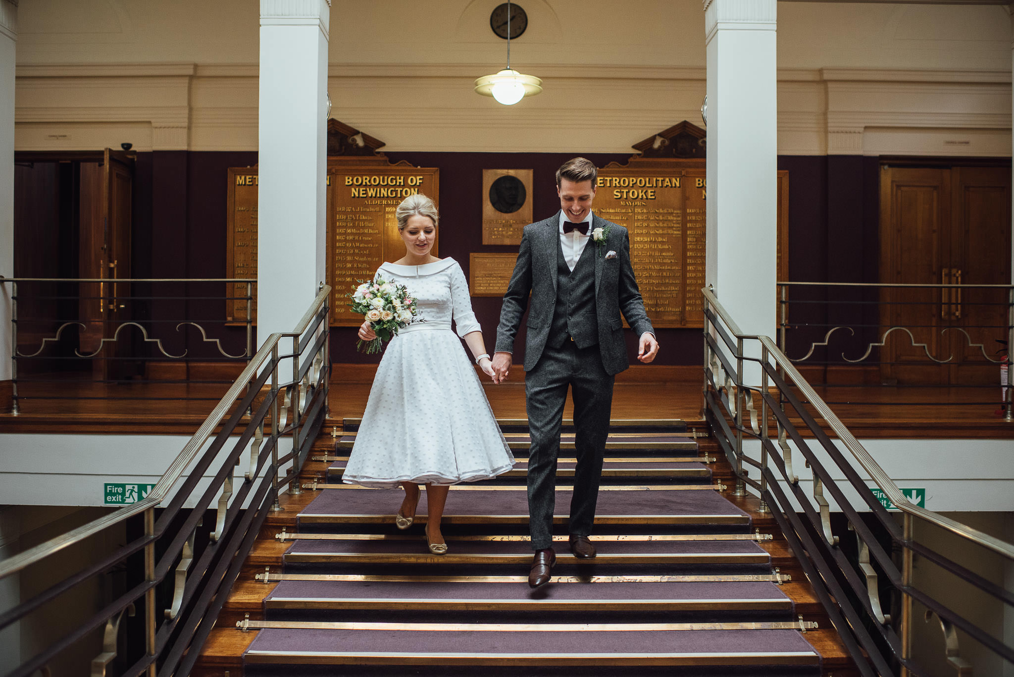 Bohemian vegan couple in stoke newington town hall wedding by creative and alternative london wedding photographer the shannons photography