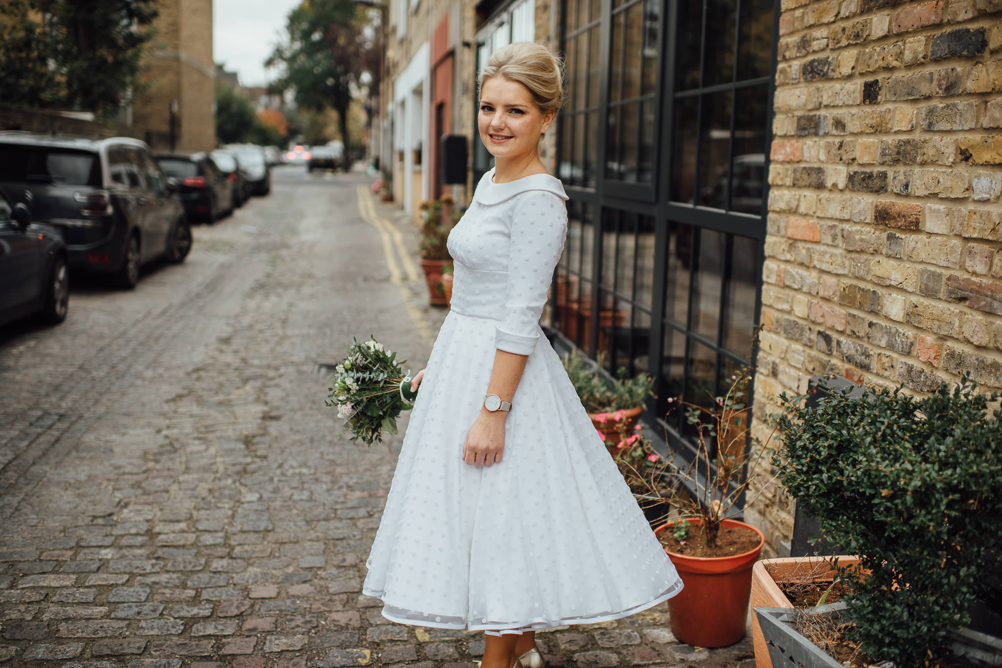 Vintage wedding dress in stoke newington town hall wedding by creative and alternative london wedding photographer the shannons photography