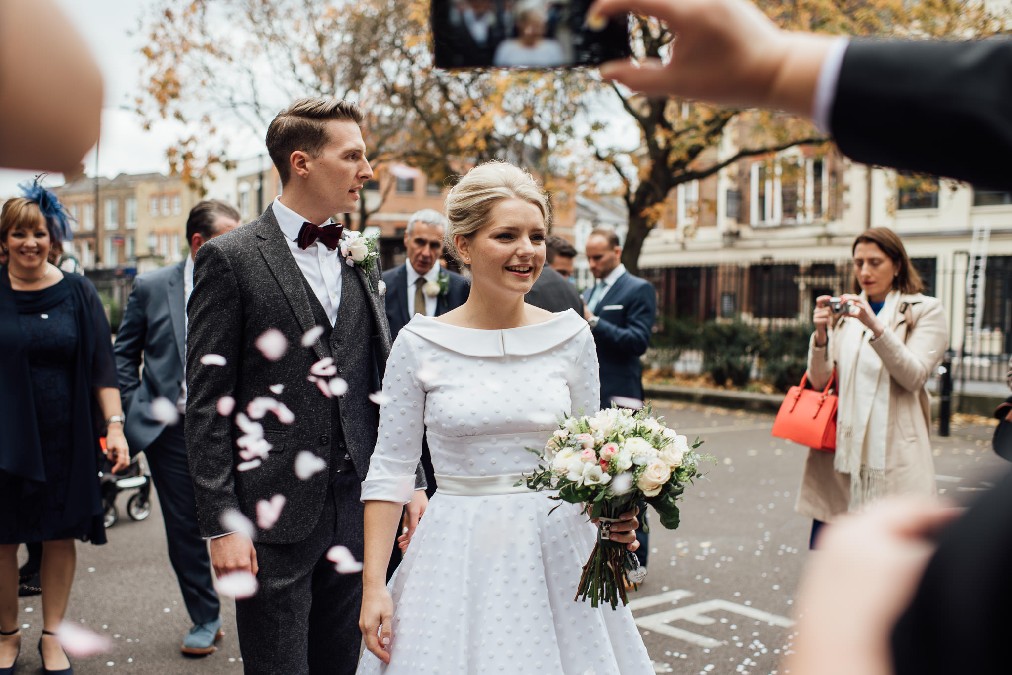Brides flowers in stoke newington town hall wedding by creative and alternative london wedding photographer the shannons photography