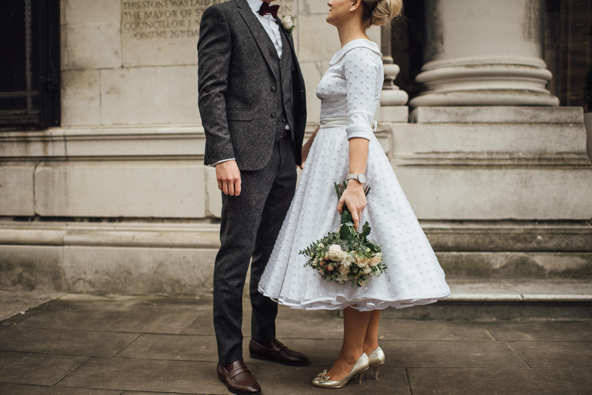 Vintage candy anthony wedding dress in stoke newington town hall wedding by creative and alternative london wedding photographer the shannons photography