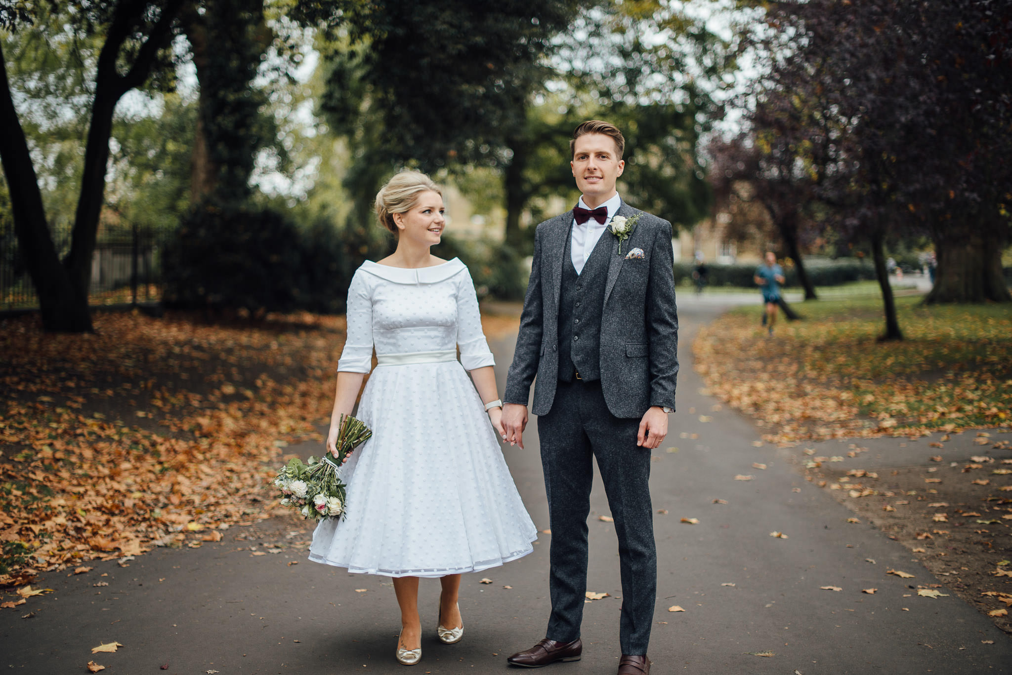 Cool london couple in clissold park in stoke newington town hall wedding by creative and alternative london wedding photographer the shannons photography