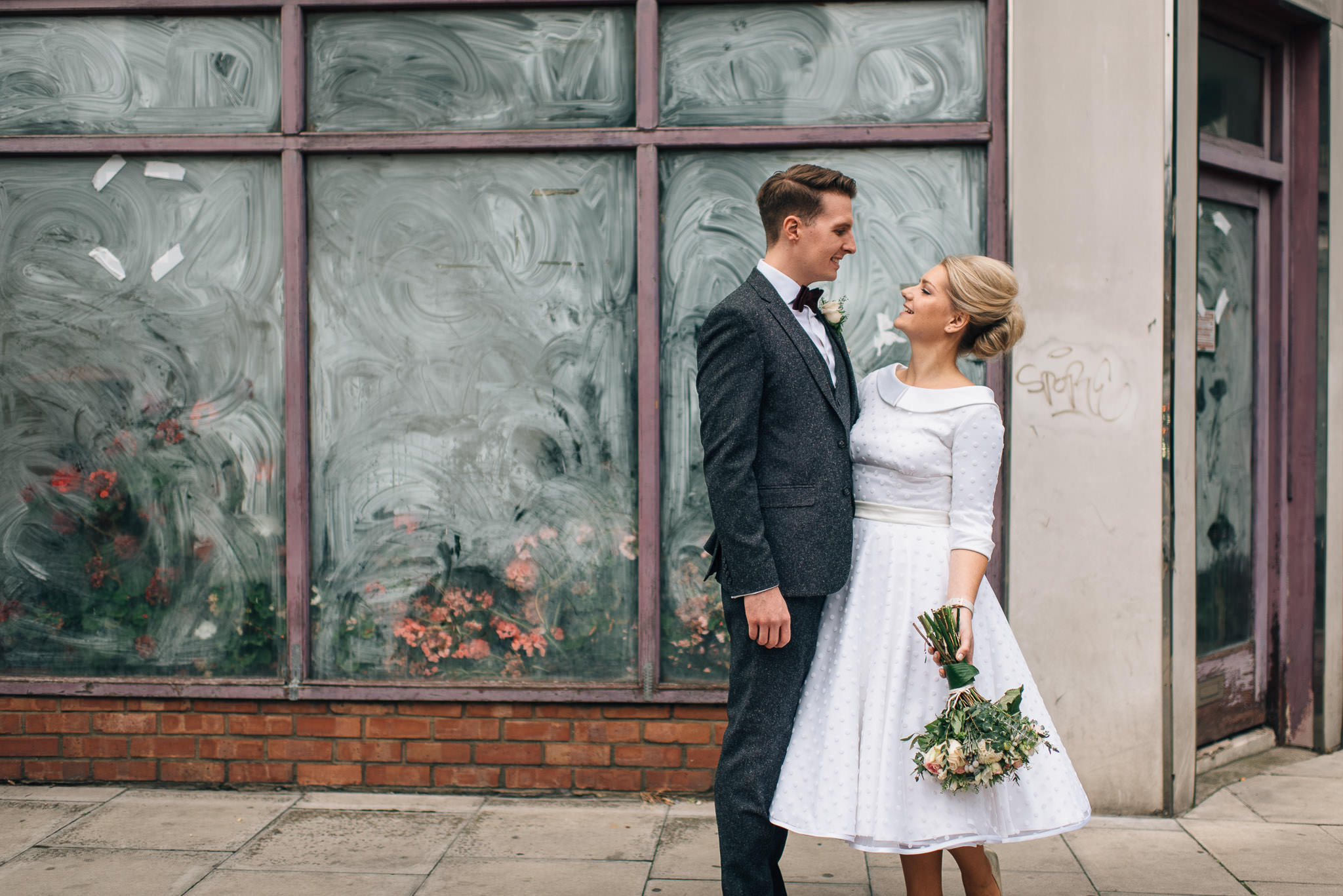 Couples portraits in stoke newington town hall wedding by creative and alternative london wedding photographer the shannons photography