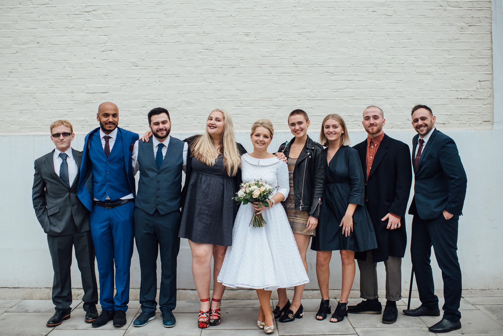 Bride and friends in stoke newington town hall wedding by creative and alternative london wedding photographer the shannons photography