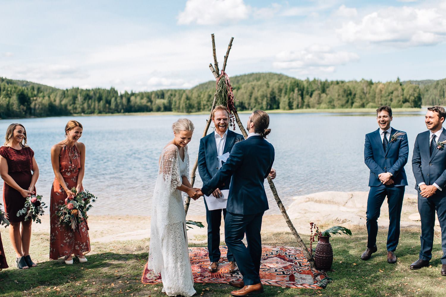 oslo bohemian wedding in the woods by creative and alternative london wedding photographer the shannons photography