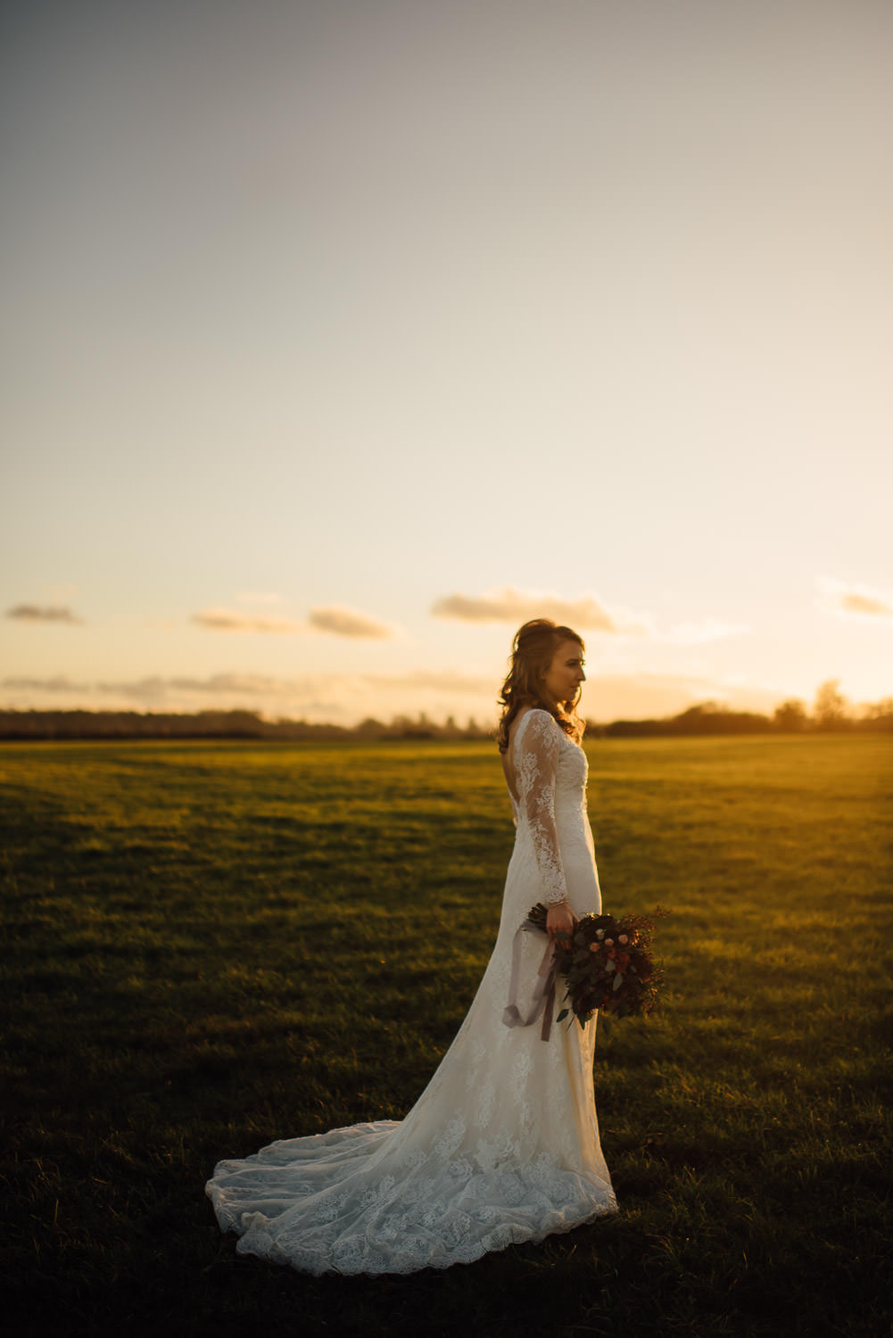 sunset bride at cripps barn by creative and alternative london wedding photographer the shannons photography