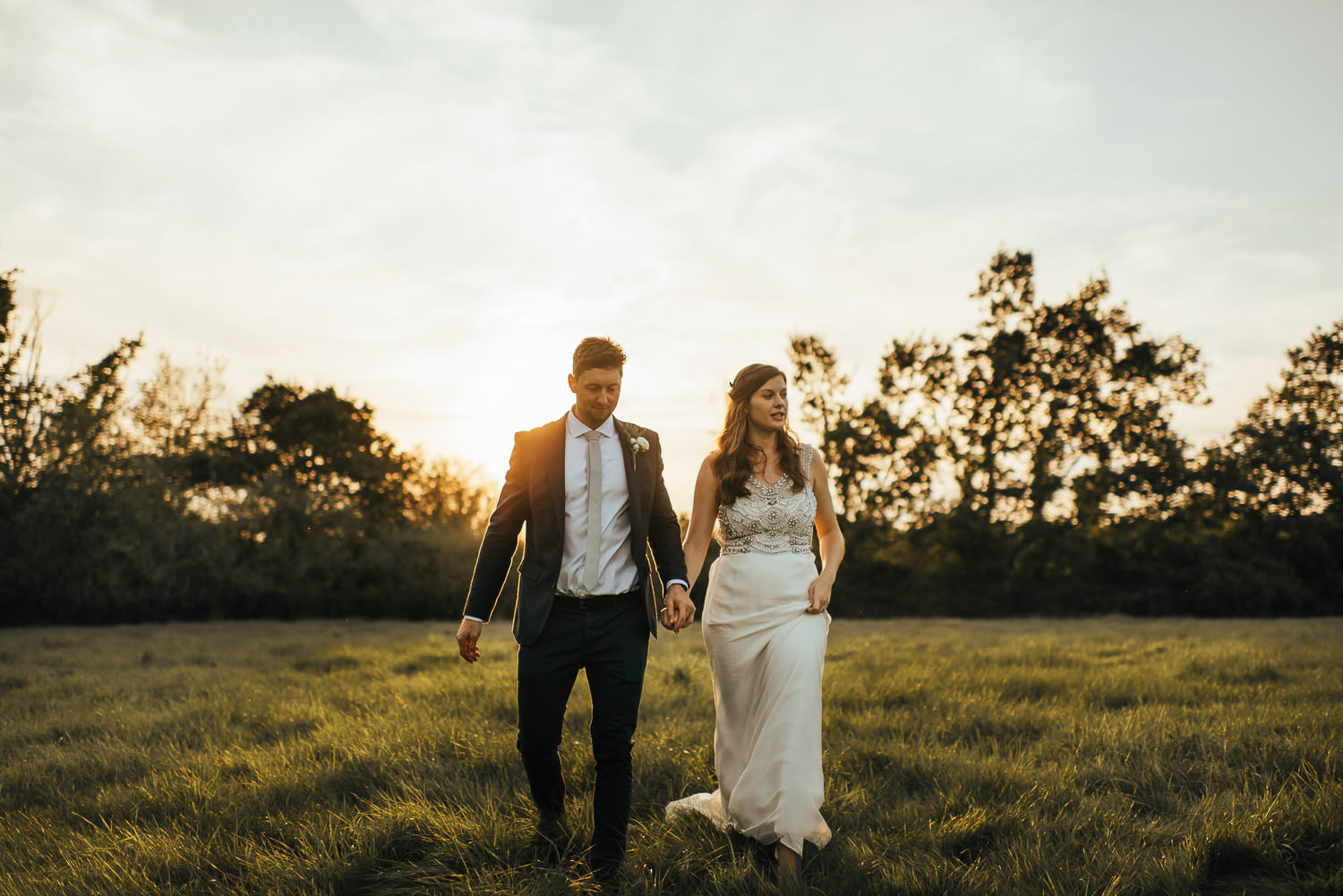 country sussex wedding sunset walk by creative and alternative london wedding photographer the shannons photography