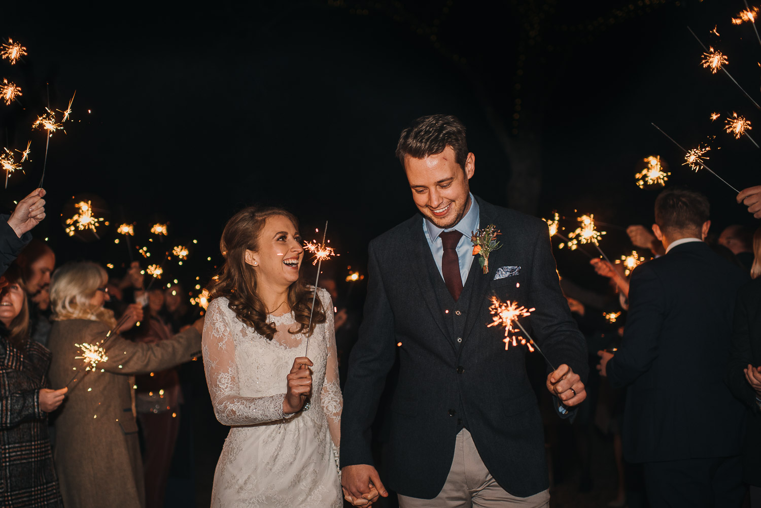 sparkler exit at cripps barn by creative and alternative london wedding photographer the shannons photography