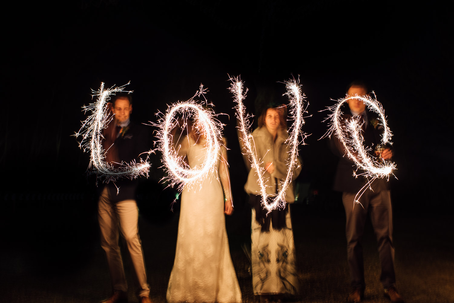 sparklers at cripps barn by creative and alternative london wedding photographer the shannons photography