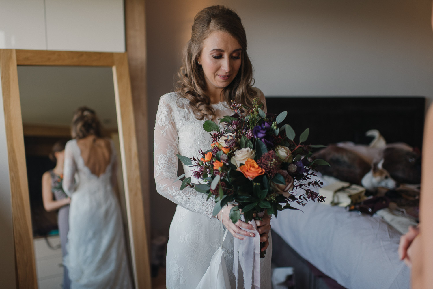 large foliage wedding bouquet by creative and alternative london wedding photographer the shannons photography