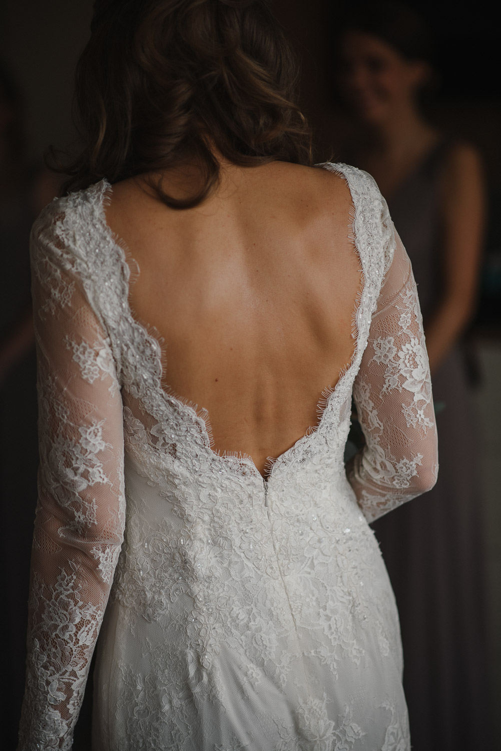 backless lace wedding dress by creative and alternative london wedding photographer the shannons photography