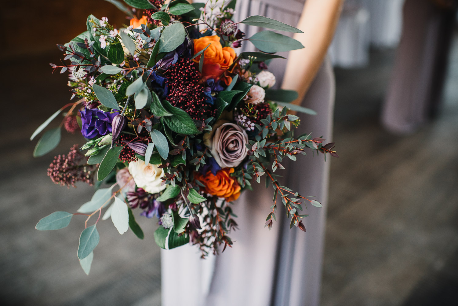 winter bridal bouquet at cripps barn by creative and alternative london wedding photographer the shannons photography