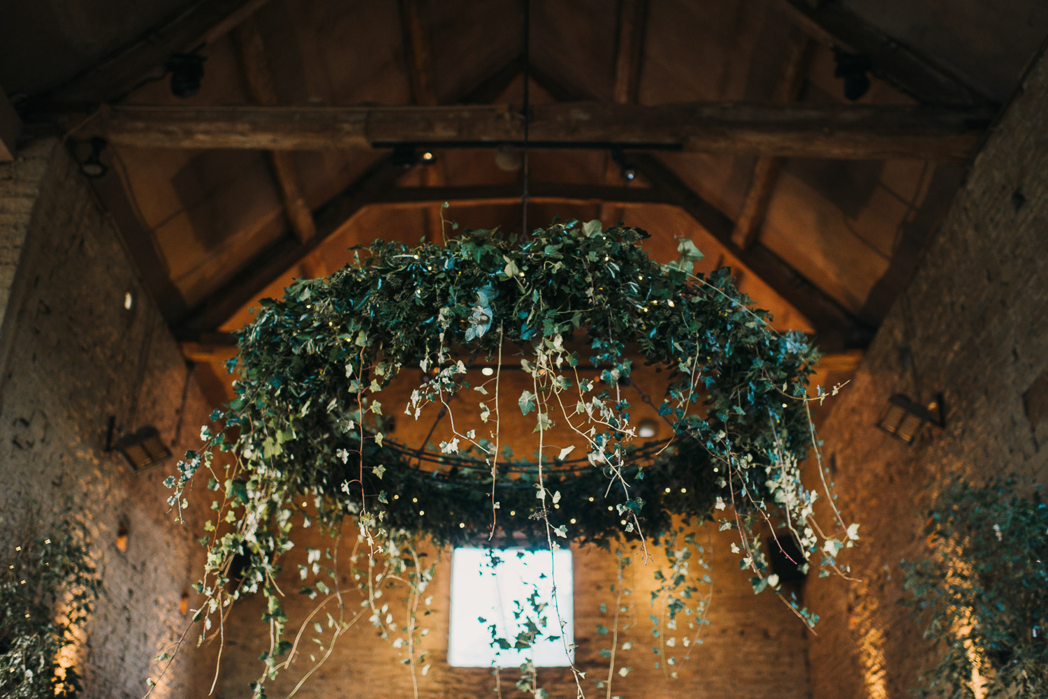 wedding hanging foliage by creative and alternative london wedding photographer the shannons photography
