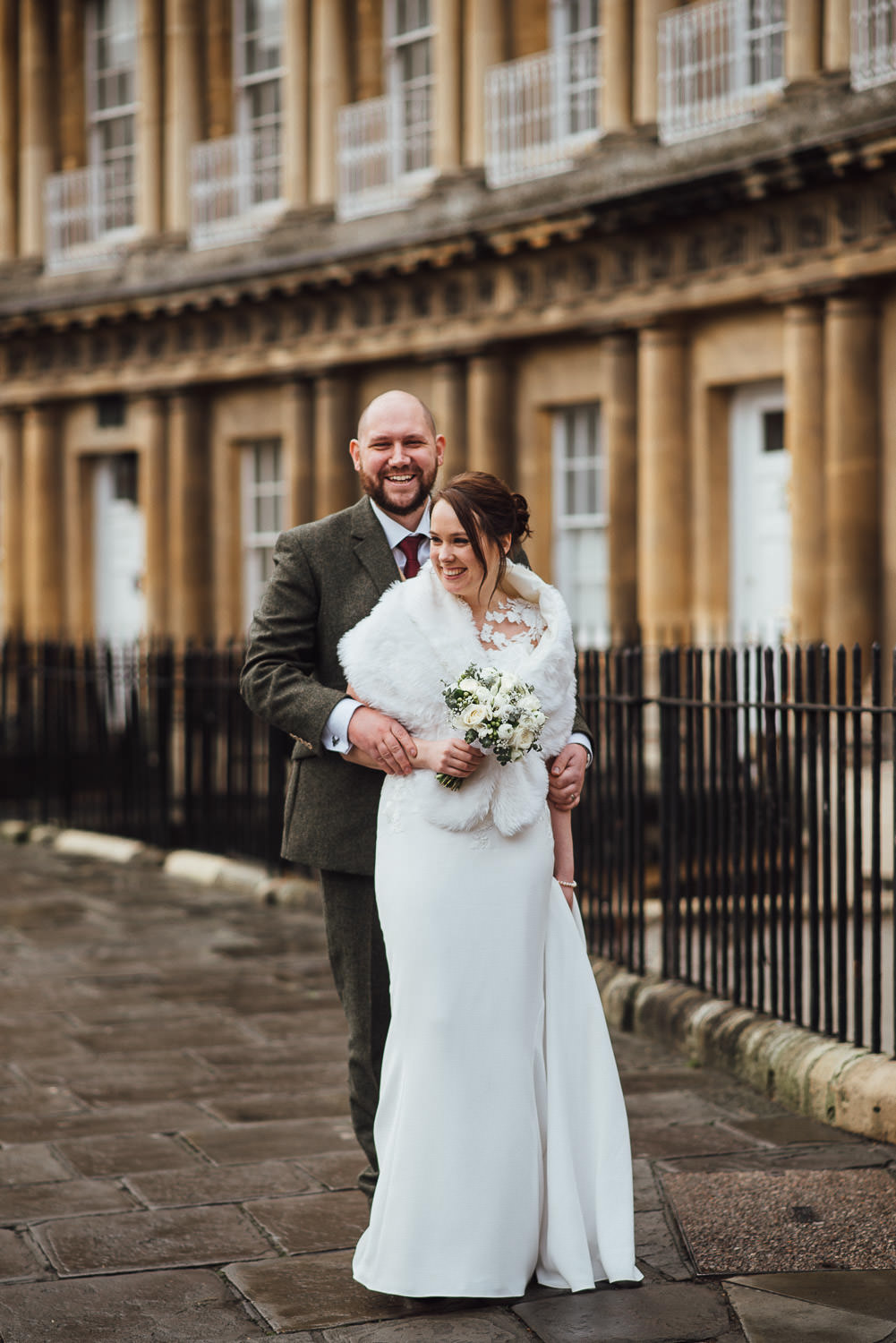 bath circle wedding bride and groom smiling by bath wedding photographer the shannons photography