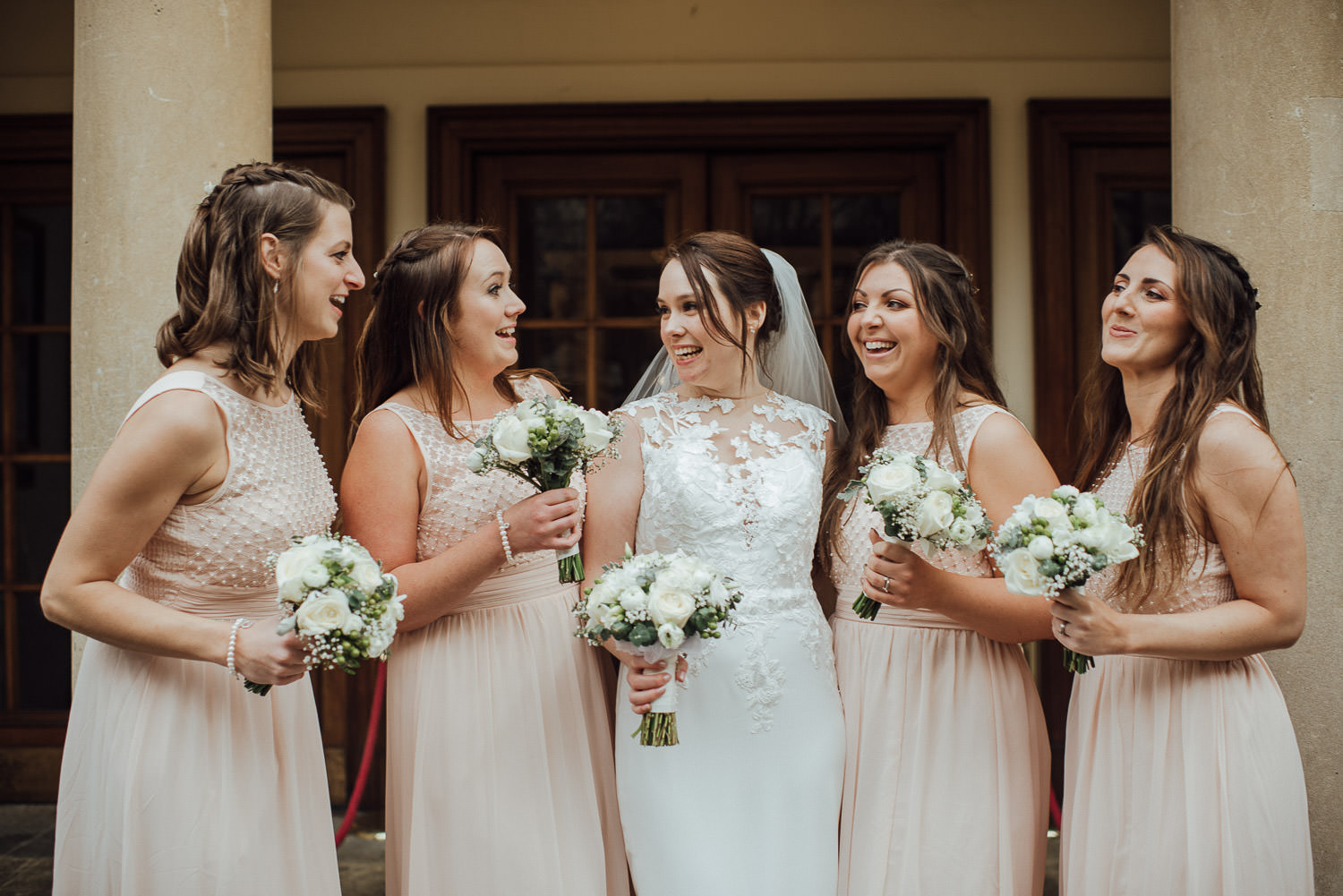 bath bridesmaids laughing by bath wedding photographer the shannons photography