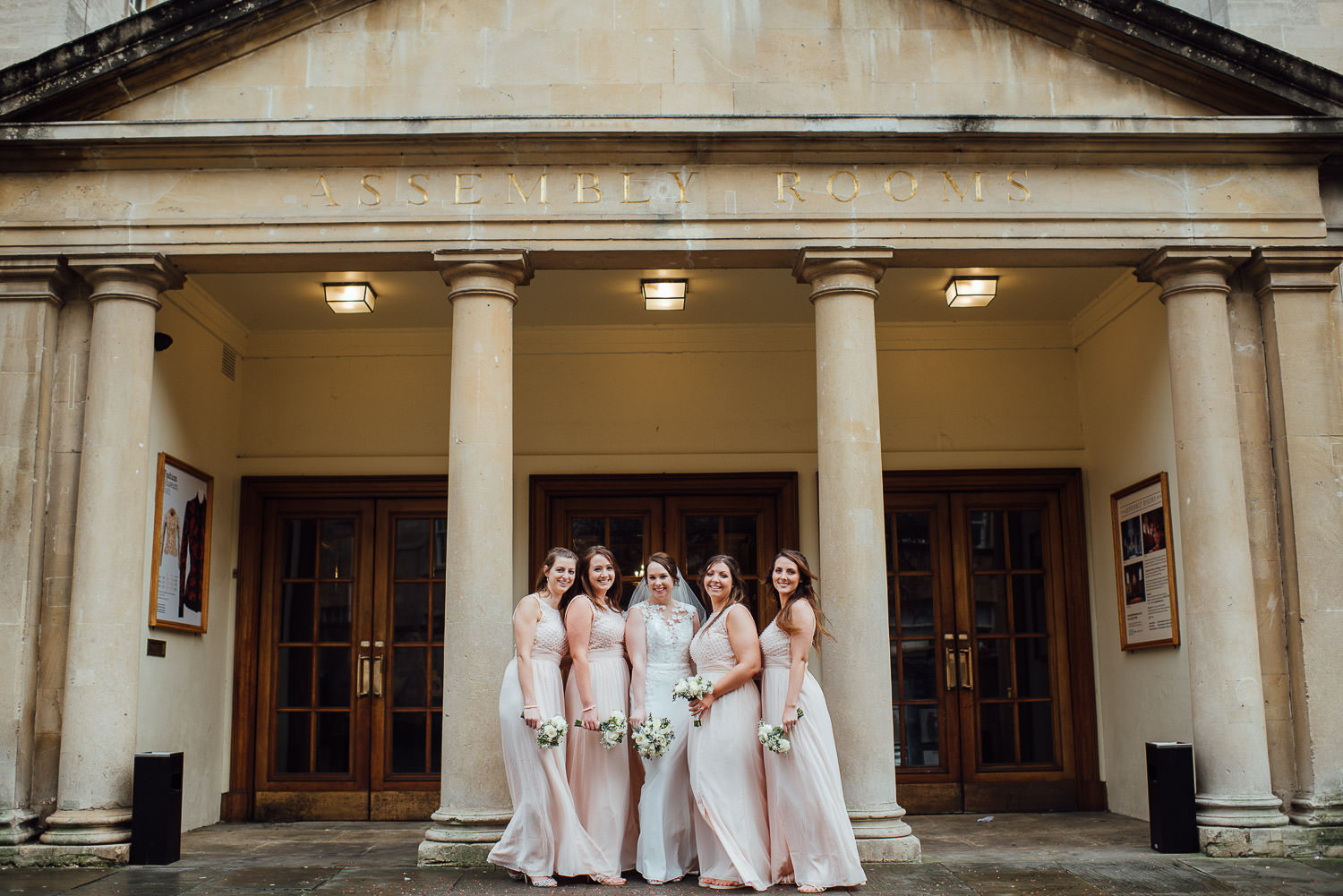 bridesmaids outside the assembly rooms bath by bath wedding photographer the shannons photography