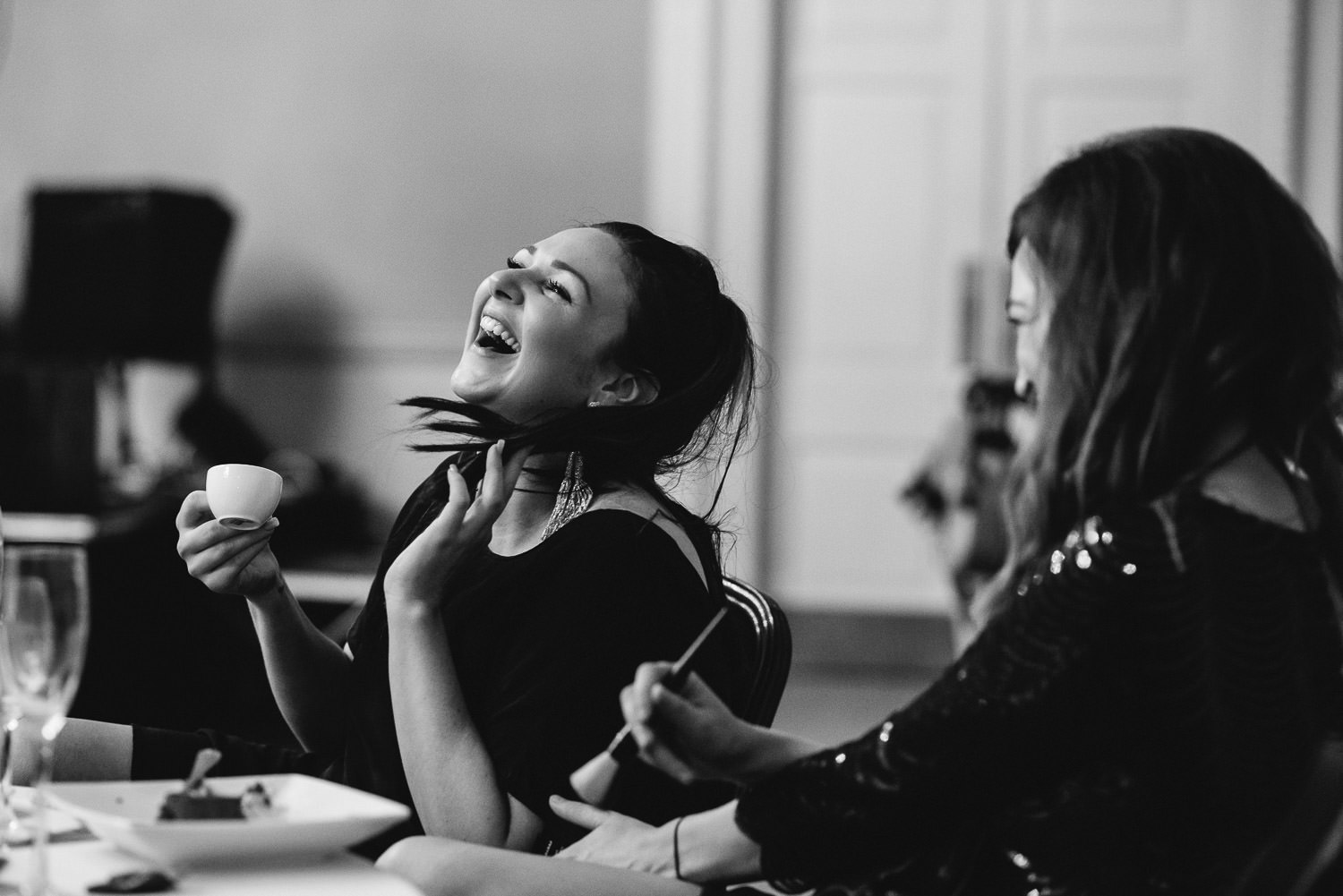 guest laughing at the assembly rooms by bath wedding photographer the shannons photography