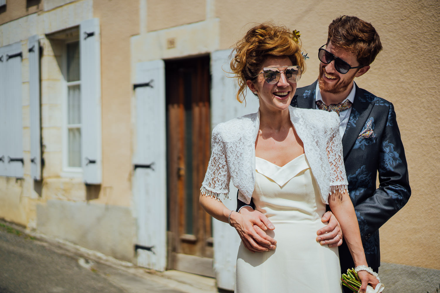 Cool french couple in Bordeaux Chateau wedding by creative destination wedding photographer the shannons photography