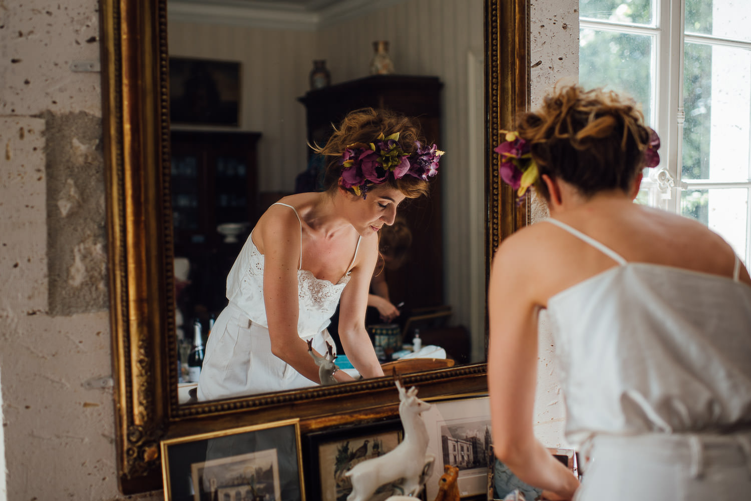 Rustic french bride in Bordeaux Chateau wedding by creative destination wedding photographer the shannons photography