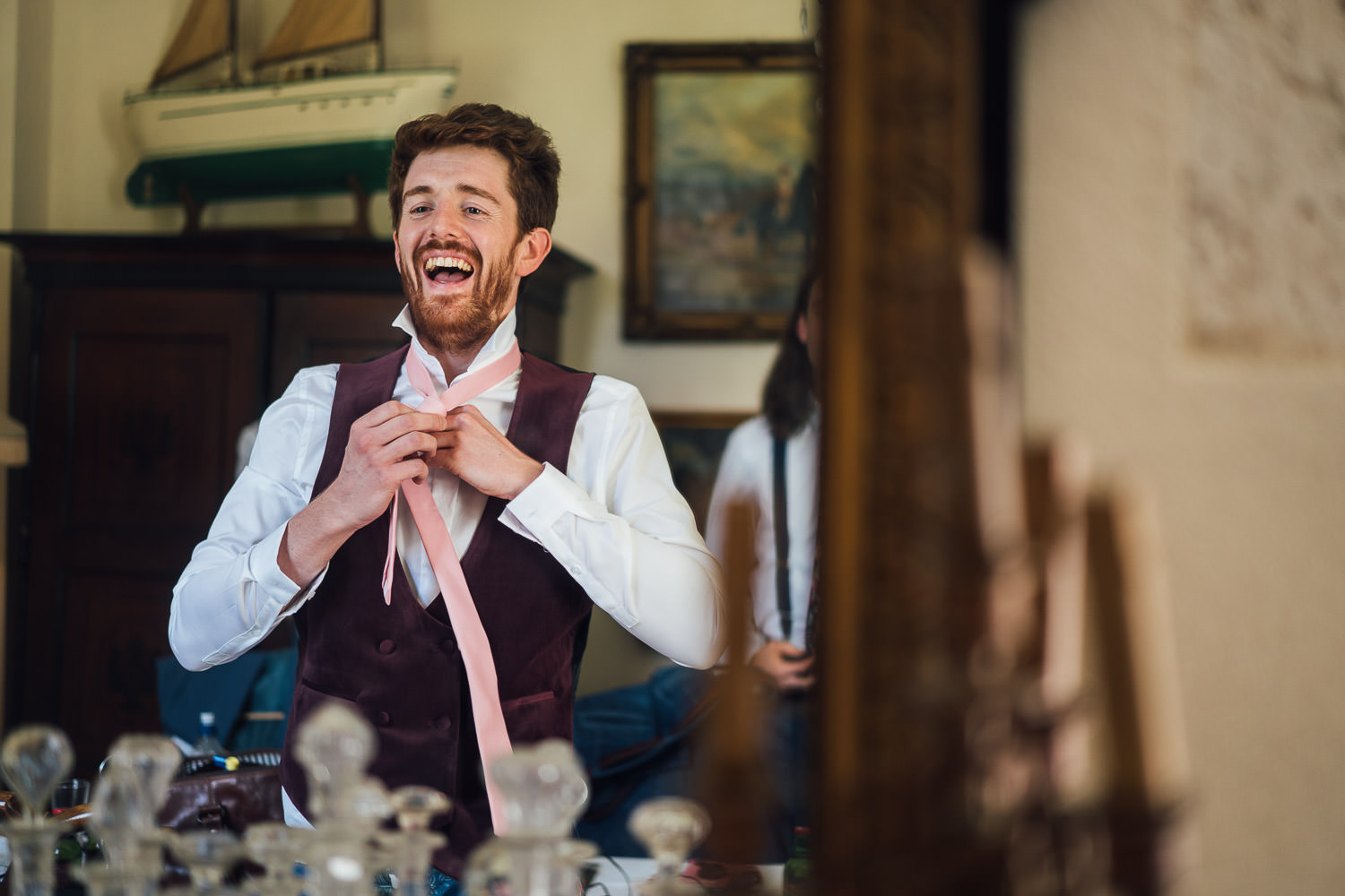 Asos wedding suit in Bordeaux Chateau wedding by creative destination wedding photographer the shannons photography