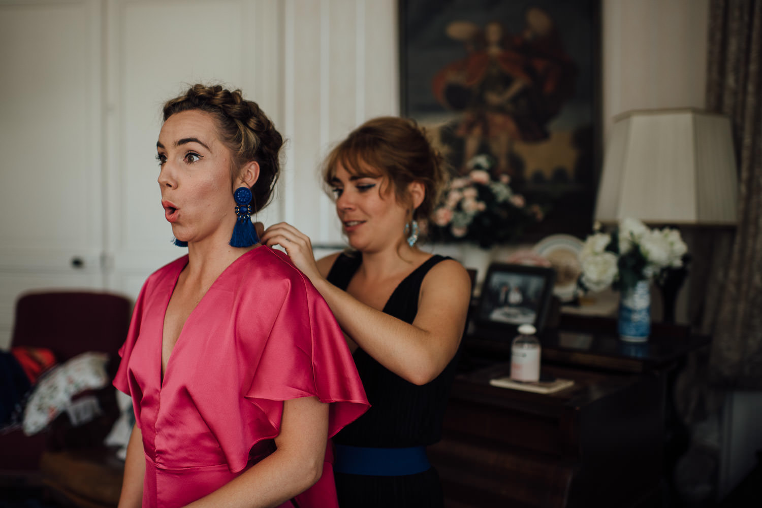 Bridal prep in Bordeaux Chateau wedding by creative destination wedding photographer the shannons photography