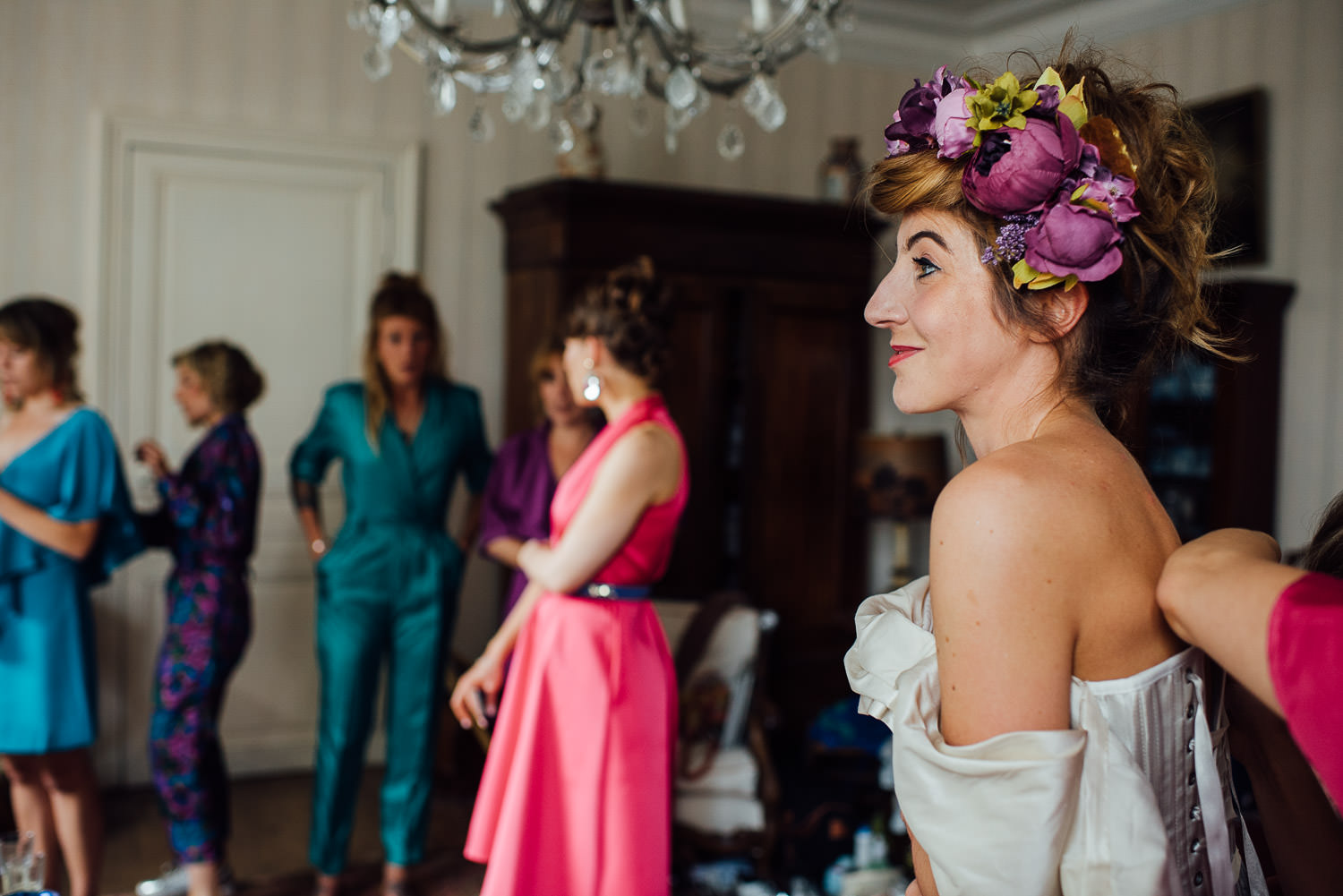 Bohemian flower crown in Bordeaux Chateau wedding by creative destination wedding photographer the shannons photography