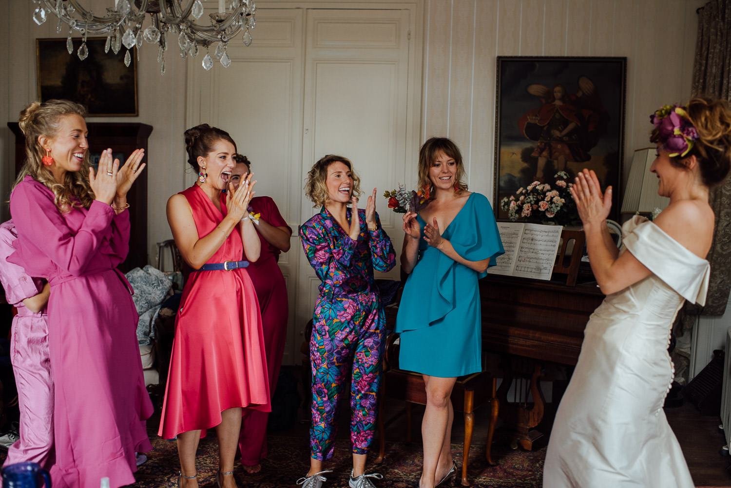 Colourful bridesmaids dresses in Bordeaux Chateau wedding by creative destination wedding photographer the shannons photography