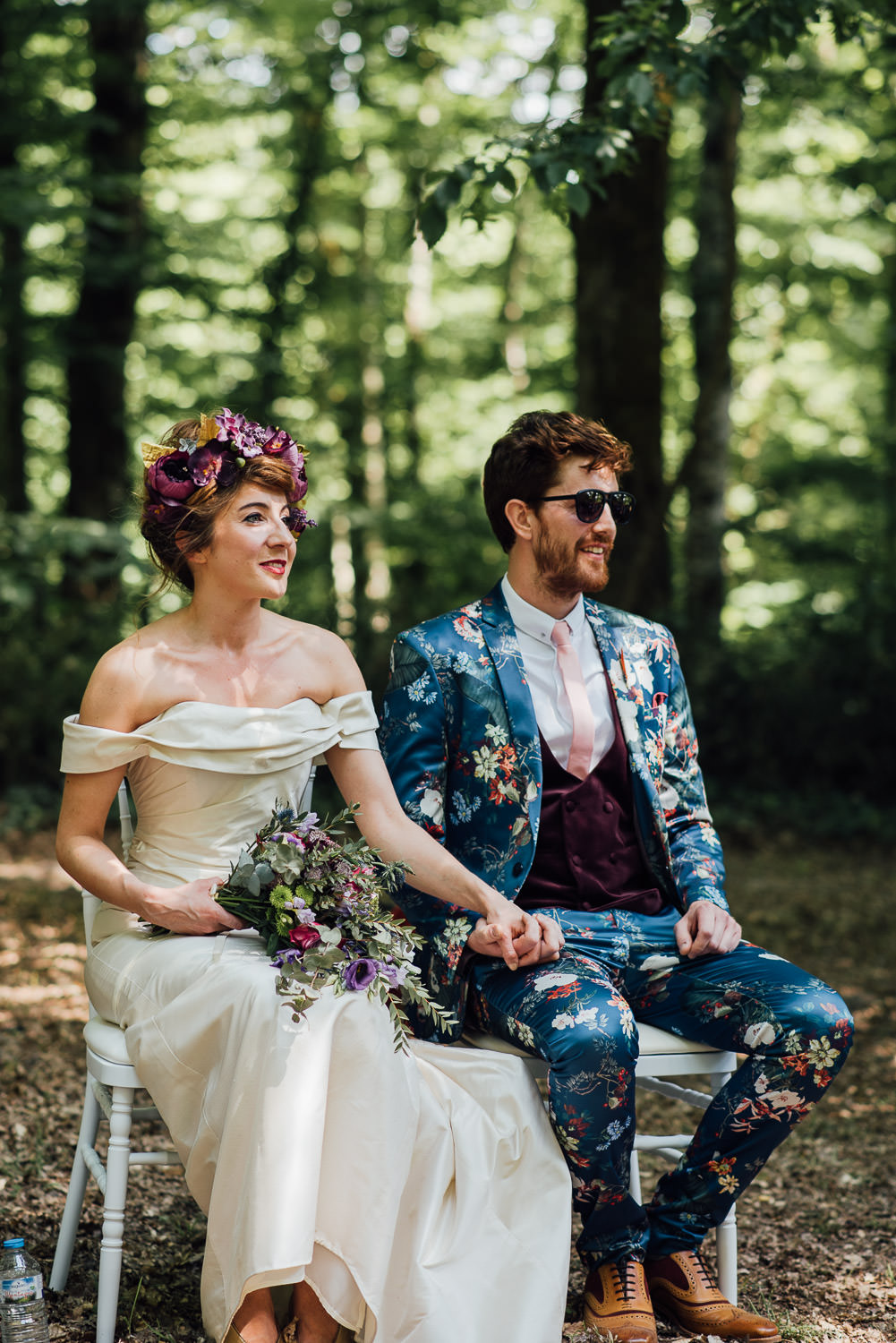 Bohemian bride in Bordeaux Chateau wedding by creative destination wedding photographer the shannons photography