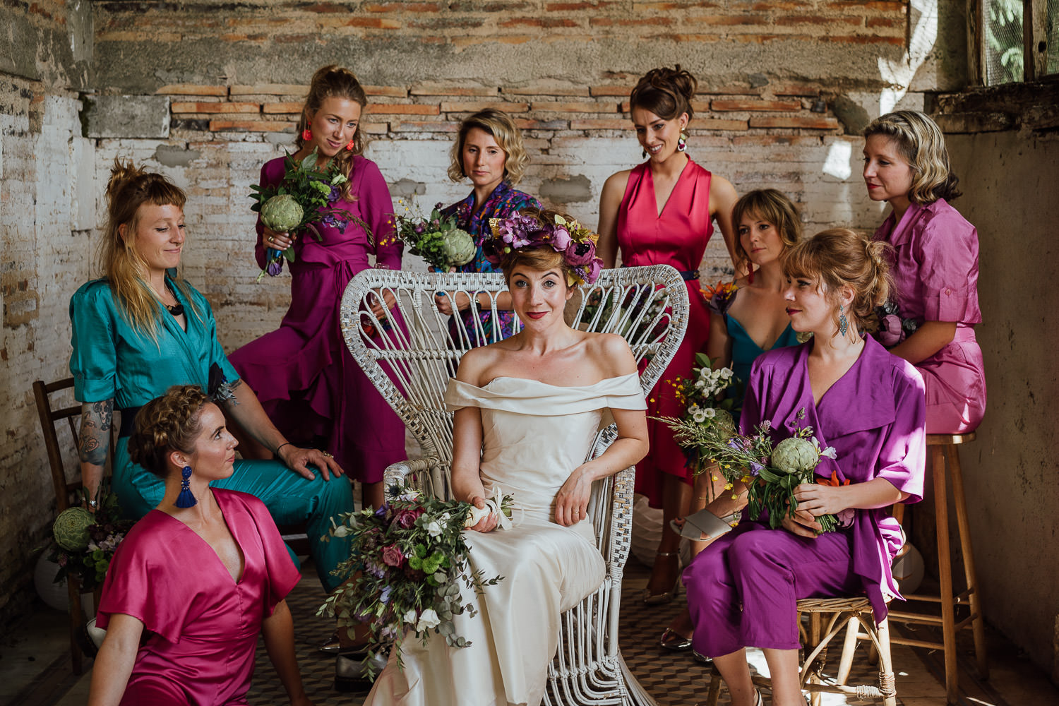 Vintage bridesmaids jumpsuits in Bordeaux Chateau wedding by creative destination wedding photographer the shannons photography