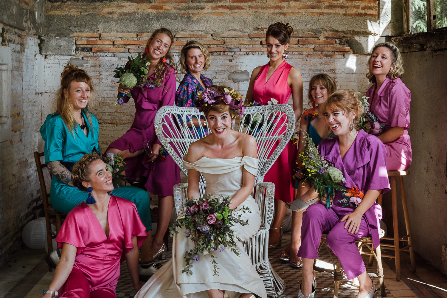 Vintage bridesmaids outfits in Bordeaux Chateau wedding by creative destination wedding photographer the shannons photography