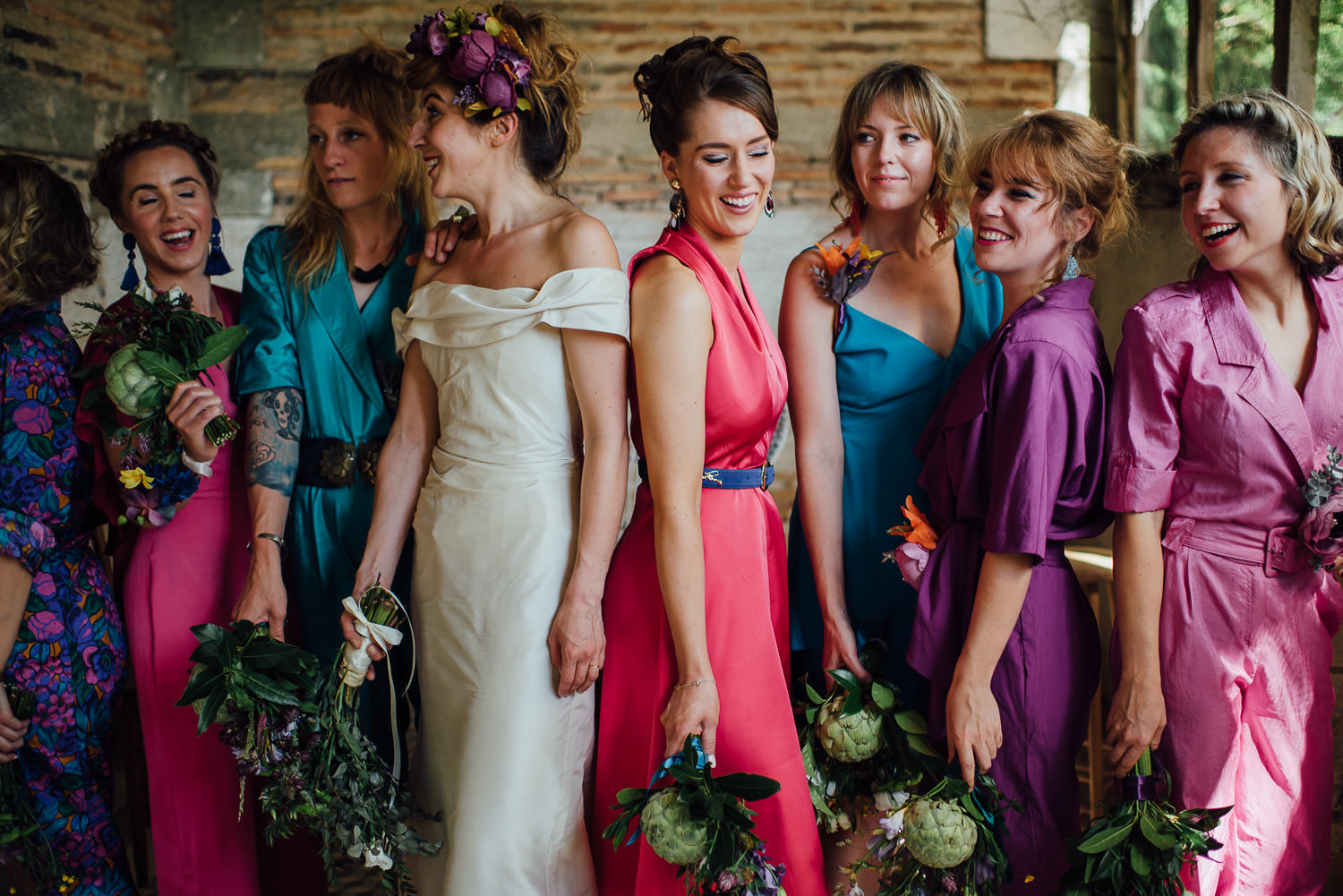 Bridesmaids in Bordeaux Chateau wedding by creative destination wedding photographer the shannons photography
