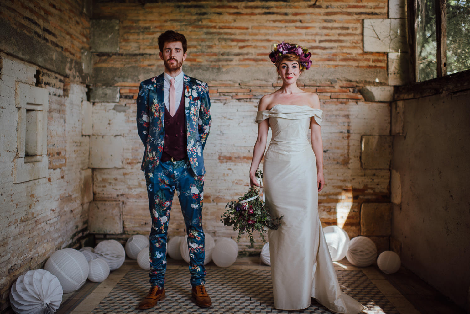 Cool wedding suit in Bordeaux Chateau wedding by creative destination wedding photographer the shannons photography